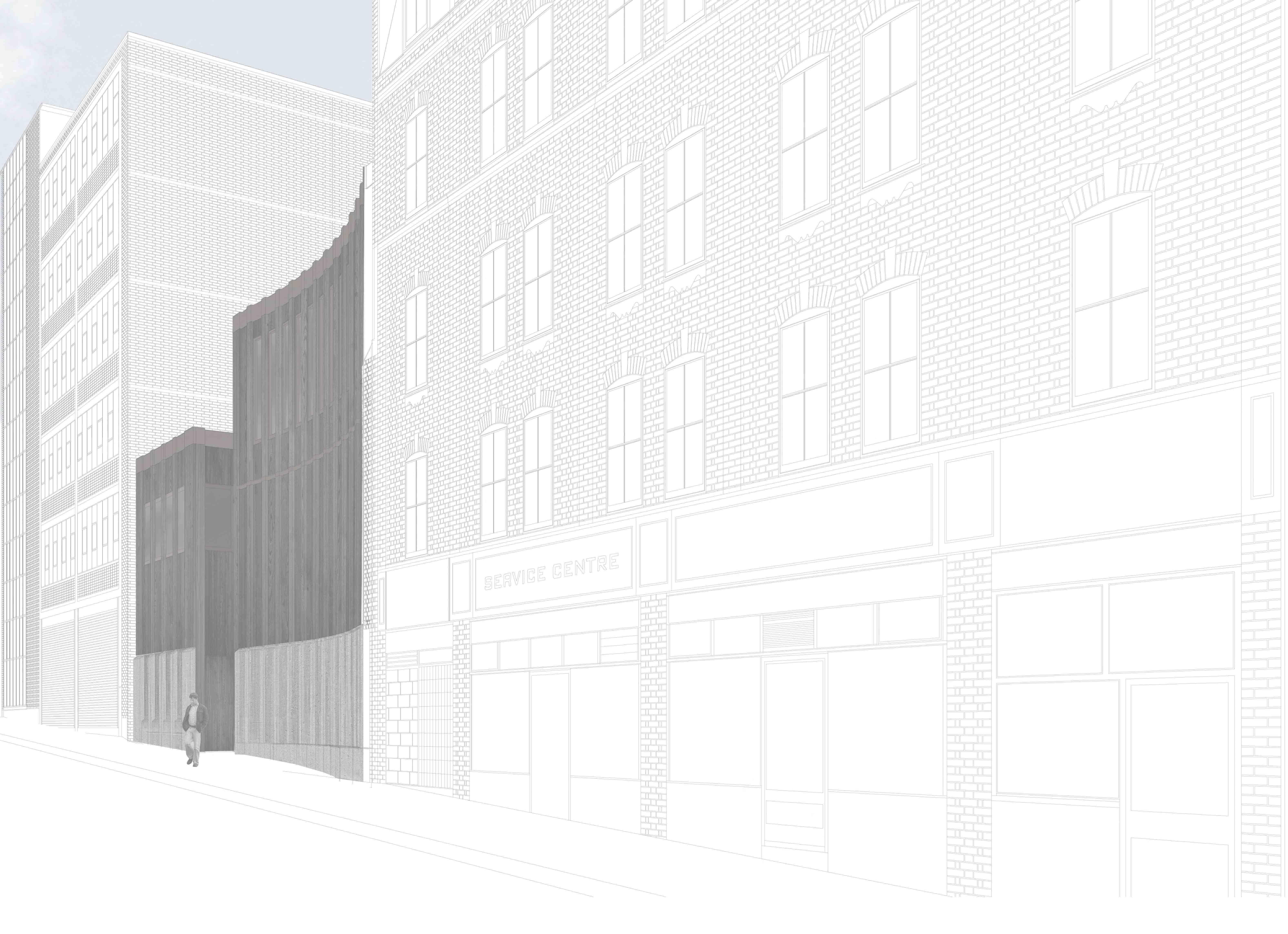 Drawing of rear facade