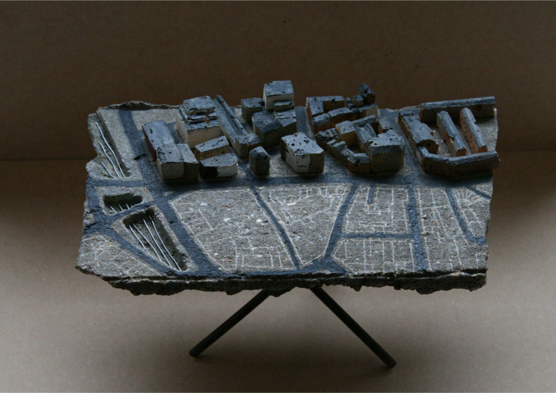 1:1250 Clerkenwell site model in found materials